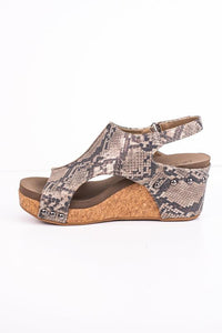 Carley - Taupe Snakeskin