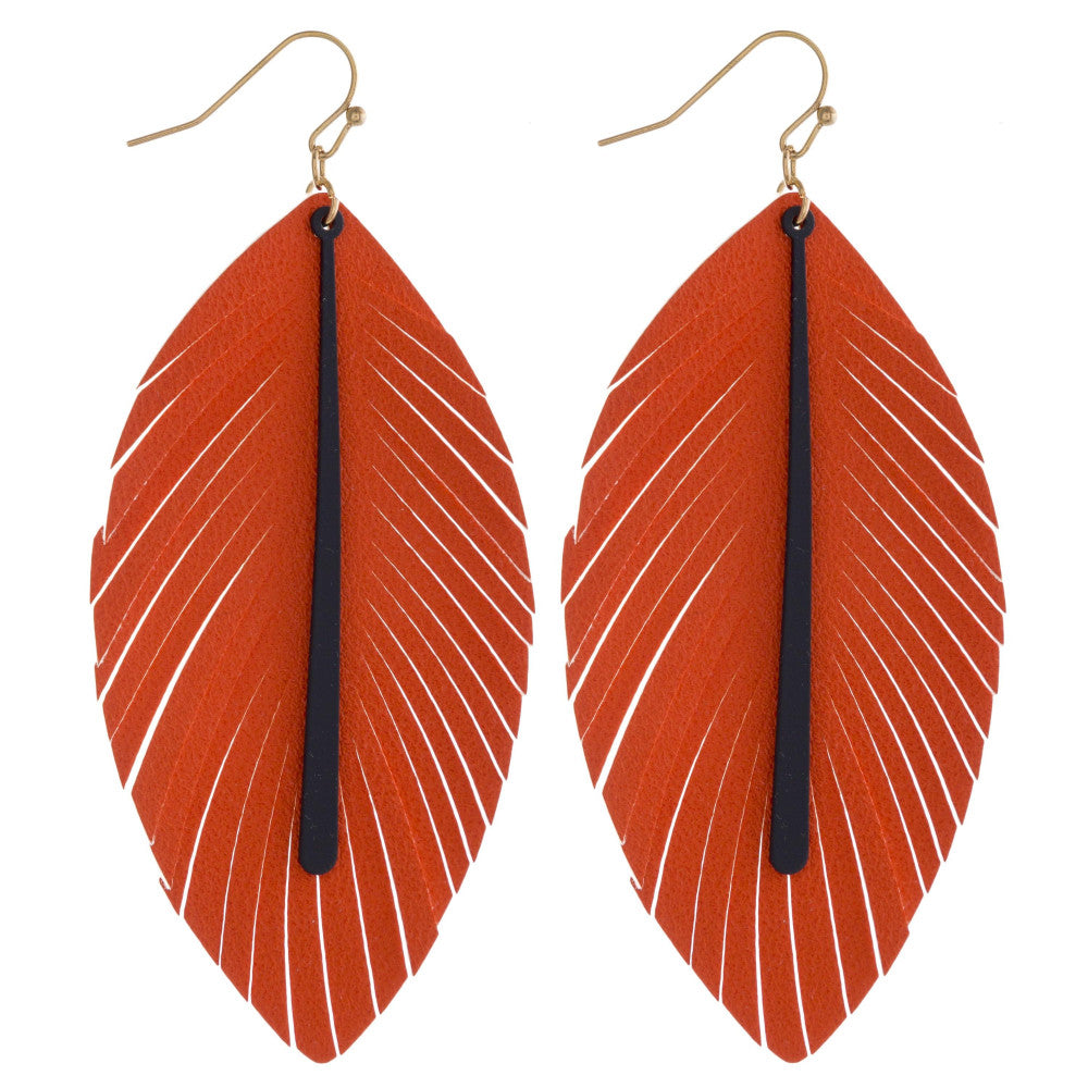 Orange and Navy Faux Leather Feather Earrings