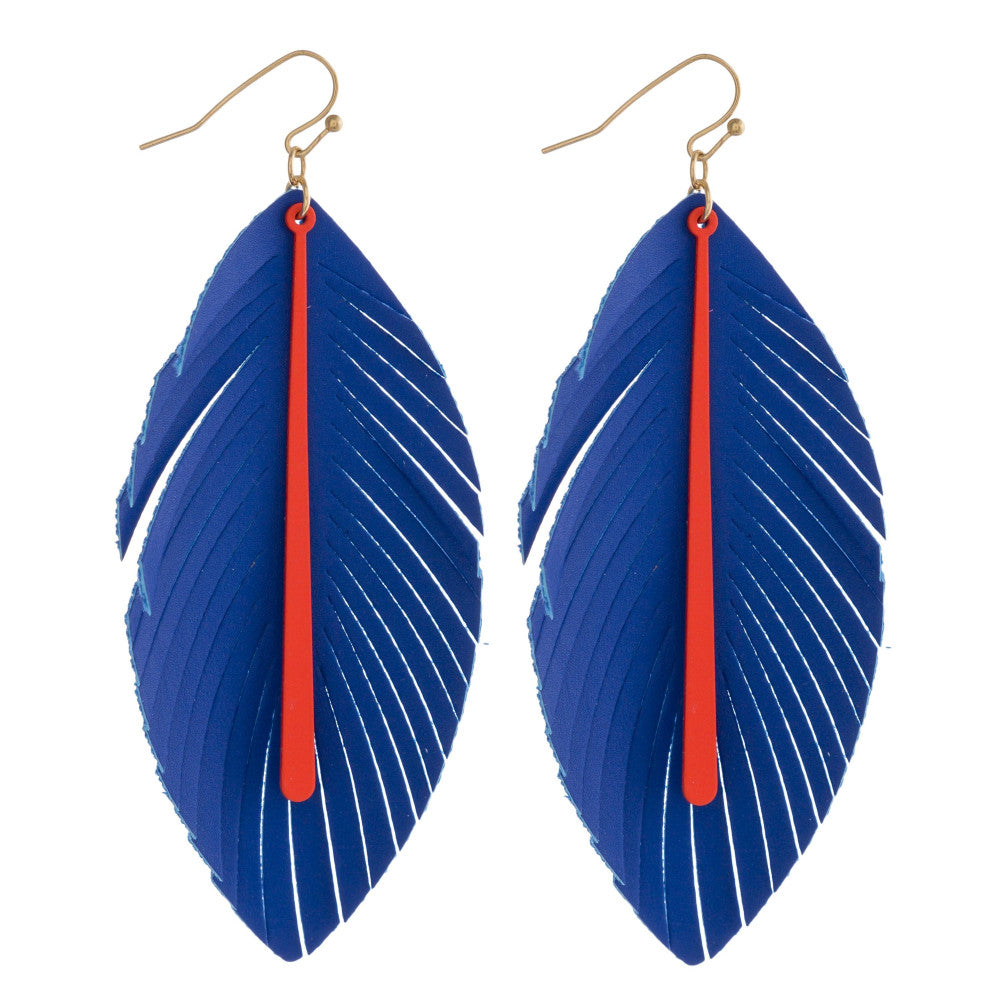 Blue and Orange Faux Leather Feather Earrings