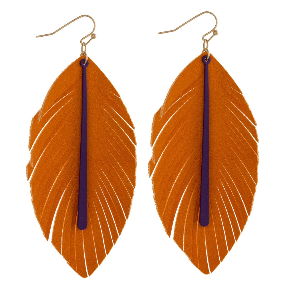 Orange and Purple Faux Leather Feather Earrings