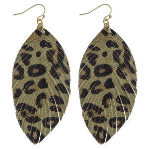 Olive Leopard Print Feather Cowhide Earrings