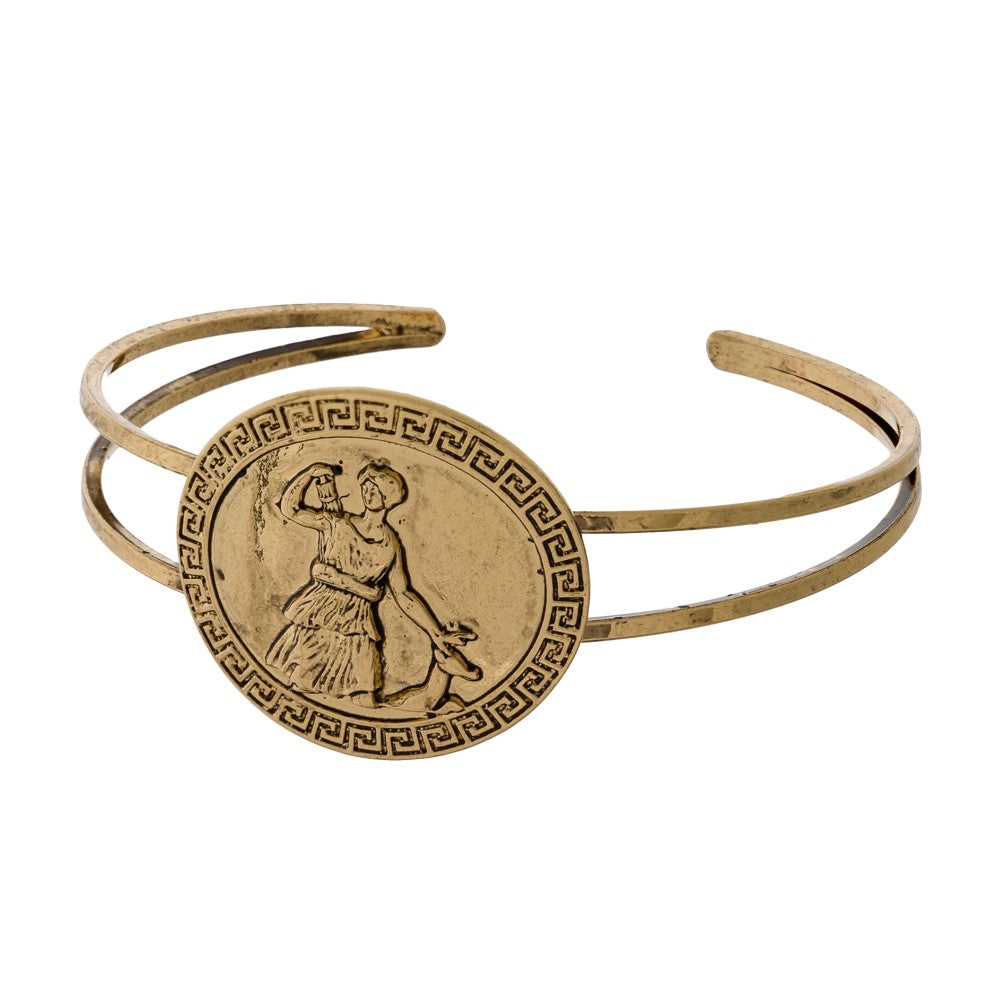 Coin with Woman Metal Cuff Bracelet - Gold