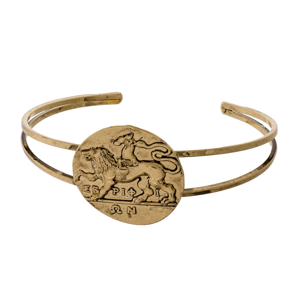 Coin with Horse Metal Cuff Bracelet - Gold