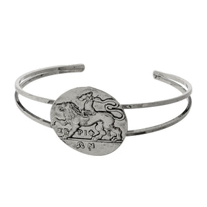 Coin with Horse Metal Cuff Bracelet - Silver