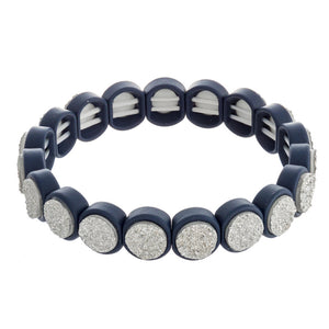 Druzy Encased Beaded Stretch Bracelet - Navy & Silver