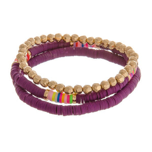 Set of 3 Beaded Stretch Bracelets - Purple