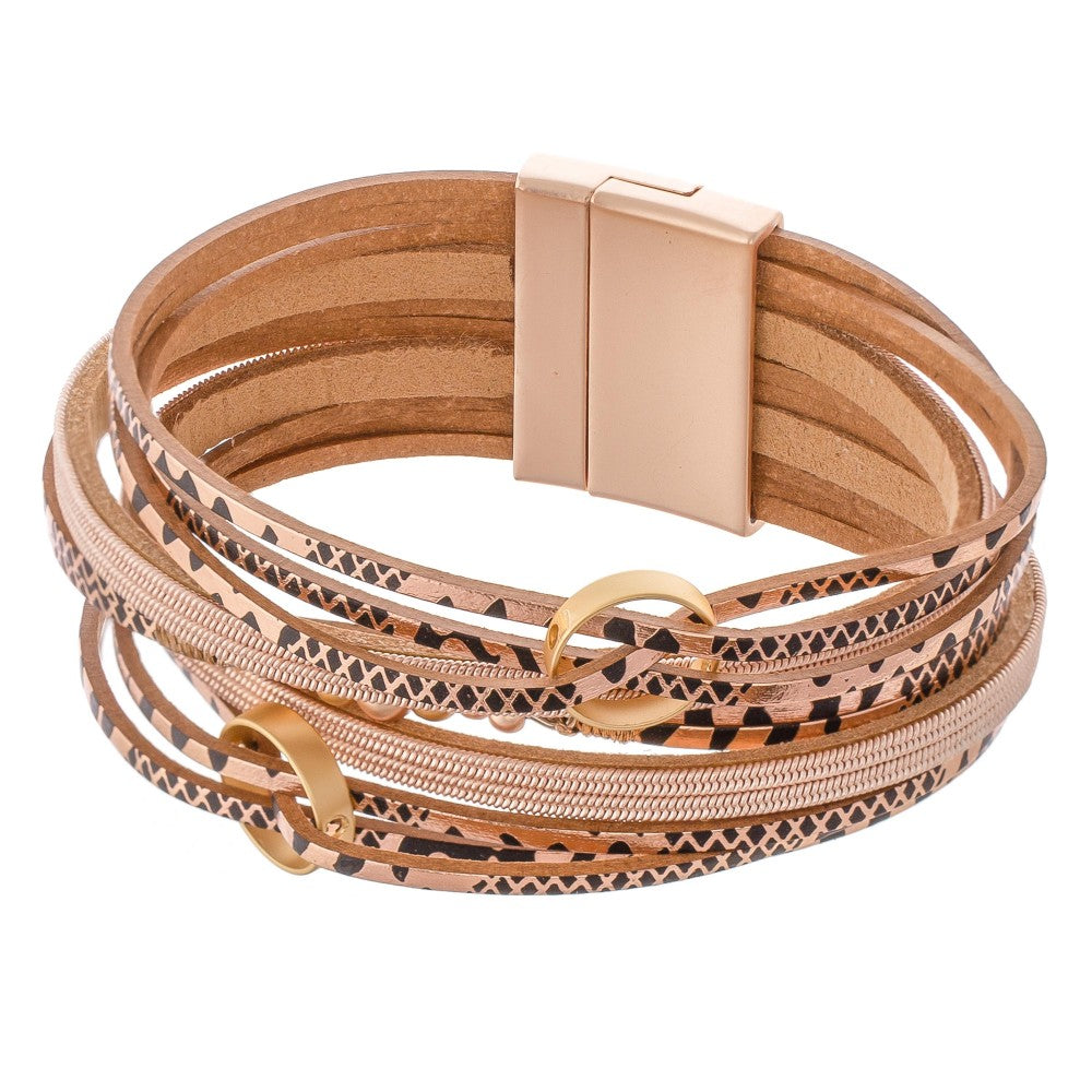 Metallic Geometric Print Shaped Multi Strand Bracelet - Rose Gold