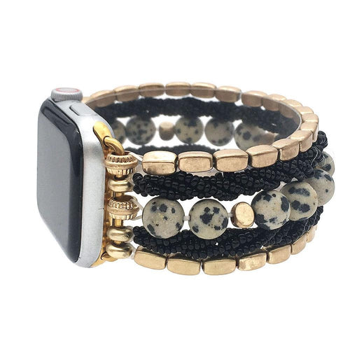 Apple Watch Band - Beaded Multi Strand Howlite Stone with Gold & Black Stretchy