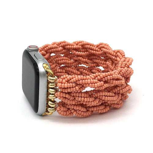 Apple Watch Band - Beaded Seed Stretchy - Coral