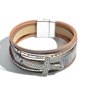 Multi Strand with Cross Magnetic Bracelet - Silver