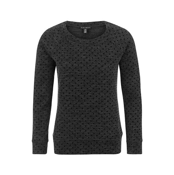 Tribal - Raglan Top - Black with Dotted with Flocked Velvet Pattern