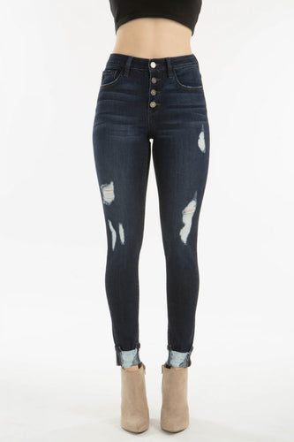 High Rise Super Skinny Button Up Dark Denim Jeans with Frayed Holes- KanCan