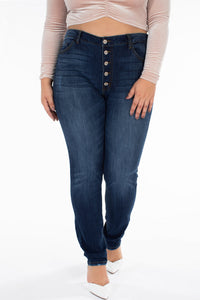 High Rise Super Skinny Button Up Dark Denim Jeans - KanCan
