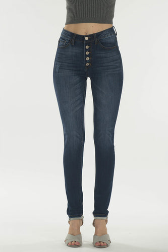 KanCan Super Skinny Dark Wash High Rise Button Up Jeans
