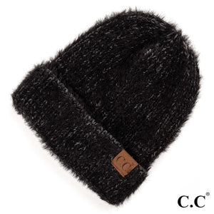 CC Adult Beanie Fuzzy Two Toned - Black