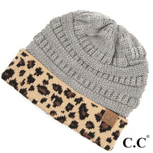 Adult Beanie - Solid Grey with Leopard Print Cuff