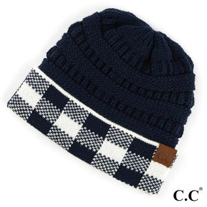 Adult Beanie - Solid Navy with Buffalo Plaid on Cuff