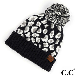 CC Adult Beanie with Pom - Black with Ivory Cheetah Detail
