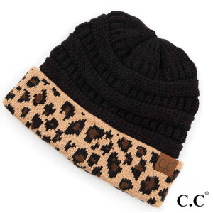 Adult Messy BUN Beanie - Solid Black with Leopard Print Cuff