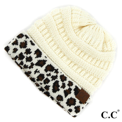 Adult Messy BUN Beanie - Solid Ivory with Leopard Print Cuff