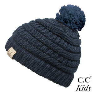 Kids Beanie with Knit Pom  - Navy