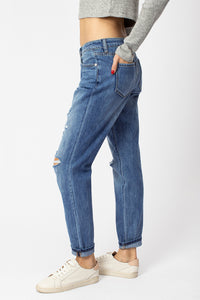 High Rise Mom Jeans with Holes- KanCan