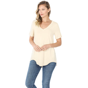 V Neck Relaxed Fit Short Sleeve Top - Cream
