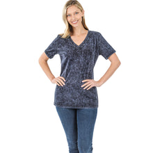 Load image into Gallery viewer, Mineral Washed Cotton V-Neck Top - Blue Grey