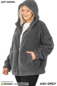 Soft Sherpa Hooded Zipper Front Jacket - Ash Grey