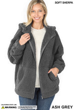 Load image into Gallery viewer, Soft Sherpa Hooded Zipper Front Jacket - Ash Grey