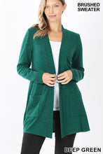 Load image into Gallery viewer, Brushed Melange Open Front Cardigan - Deep Green