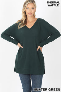 Brushed Thermal Waffle V Neck Sweater - Hunter Green
