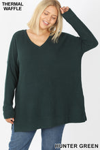 Load image into Gallery viewer, Brushed Thermal Waffle V Neck Sweater - Hunter Green