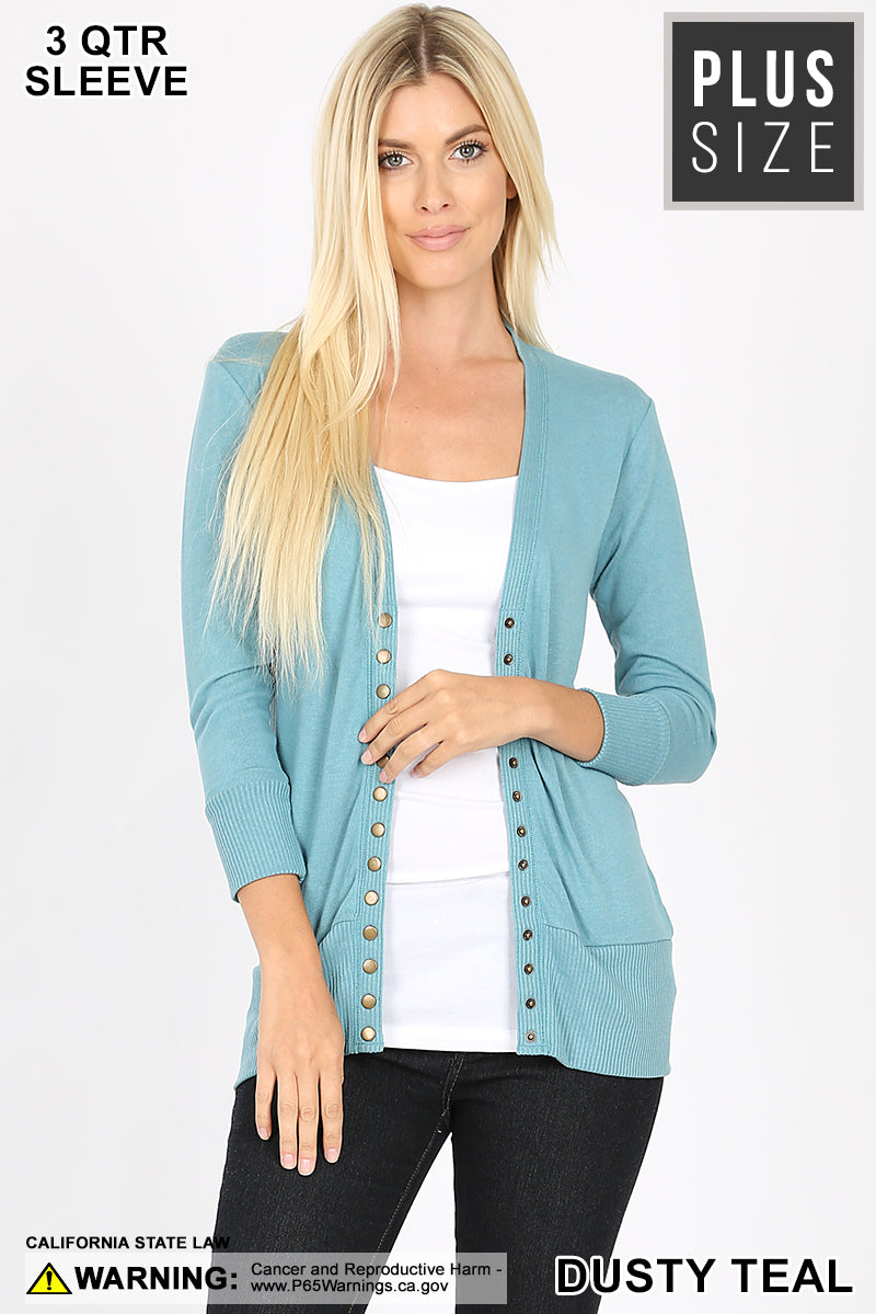 Snap Button Front 3/4 Sleeve Cardigan - Dusty Teal