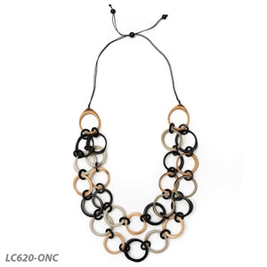 Tagua - Long Ring of Life Necklace - Onyx Combo