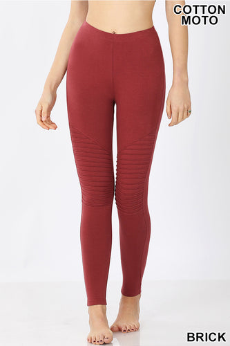 Cotton Full Length Moto Leggings - Brick