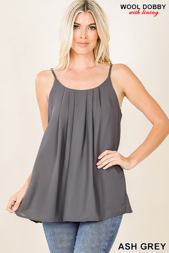 Pleated Spaghetti Strap Cami - Ash Grey