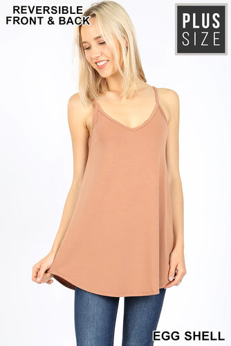 V-Neck or Scoop Reversible Cami- Eggshell