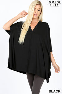 V Neck Center Band Oversized Poncho - Black