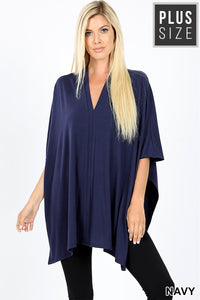 V Neck Center Band Oversized Poncho -Navy