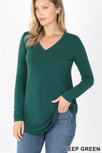 Load image into Gallery viewer, Long Sleeve V-Neck Round Hem Top - Deep Green