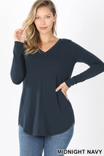 Load image into Gallery viewer, Long Sleeve V-Neck Round Hem Top - Midnight