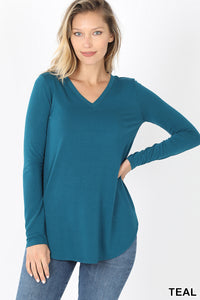 Long Sleeve V-Neck Round Hem Top - Teal