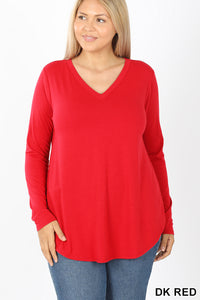 Long Sleeve V-Neck Round Hem Top - Ruby