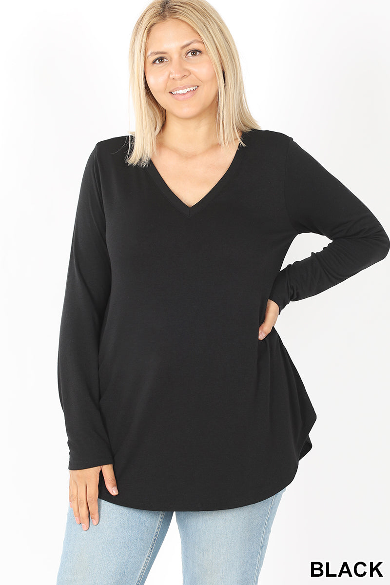 Long Sleeve V-Neck Round Hem Top - Black