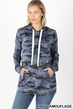 Load image into Gallery viewer, Camouflage Hoodie with Kangaroo Pockets - Blue Camo