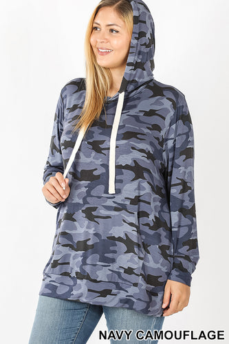 Camouflage Hoodie with Kangaroo Pockets - Blue Camo