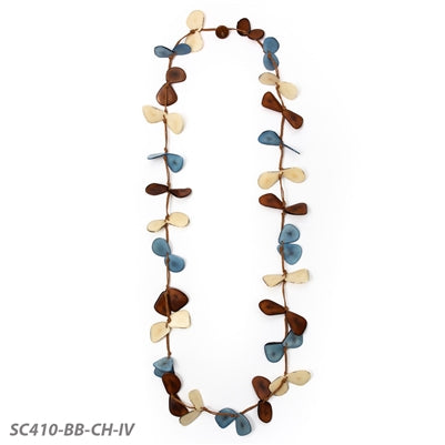Tagua - Slice Necklace - Biscayne Bay Combo - Chestnut, Blue and Ivory
