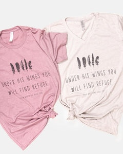 Under His Wings You Will Find Refuge Feathers Tee - CREAM