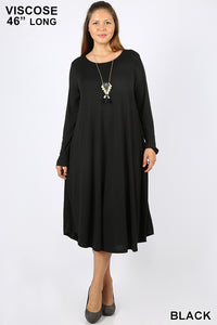 Long Sleeve Round Neck Midi Dress -  Black